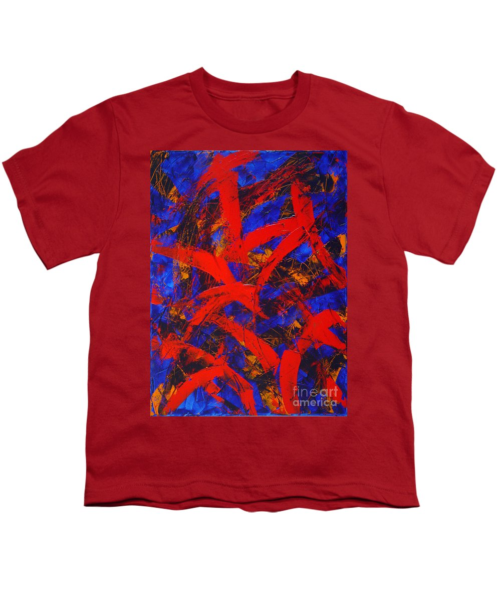 Abstract Youth T-Shirt featuring the painting Transitions With Blue And Red by Dean Triolo