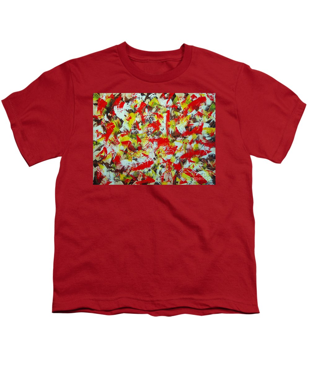Abstract Youth T-Shirt featuring the painting Transitions With Yellow Brown And Red by Dean Triolo