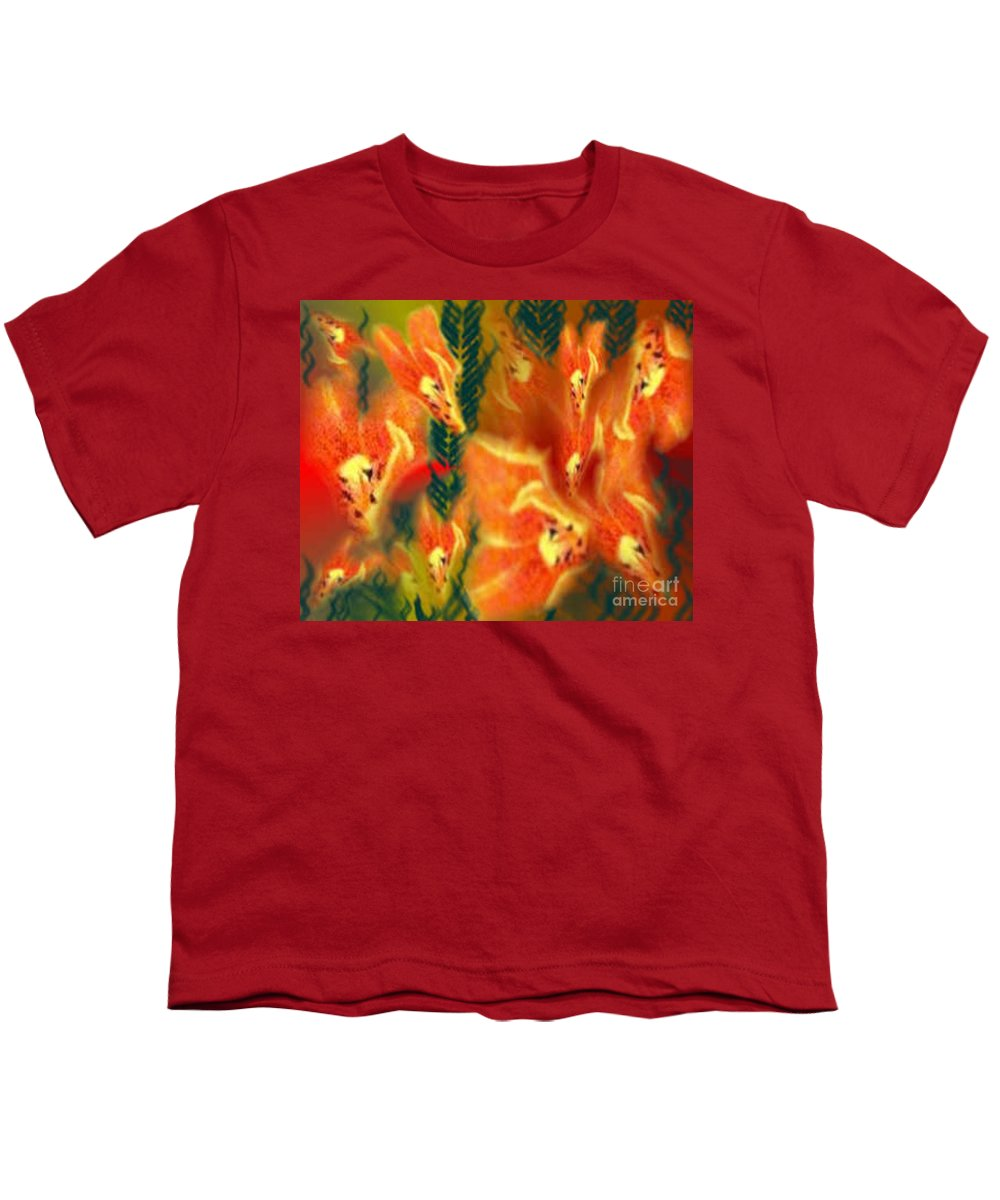 Florals Youth T-Shirt featuring the digital art Symphonic Dance by Brenda L Spencer