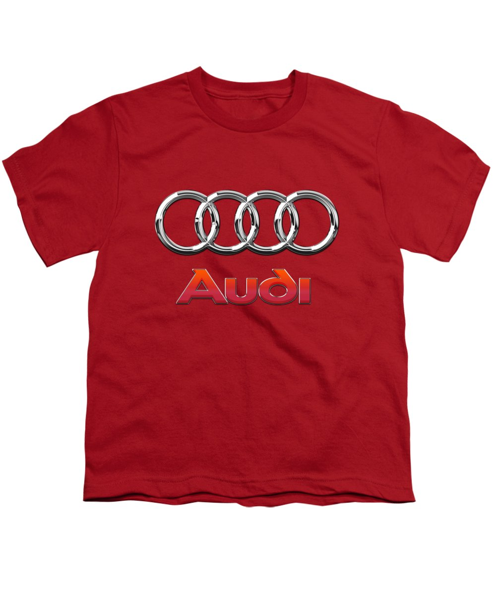 Wheels Of Fortune By Serge Averbukh Youth T-Shirt featuring the photograph Audi - 3d Badge On Red by Serge Averbukh