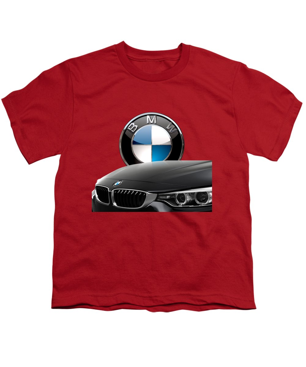 �auto Badges� Collection By Serge Averbukh Youth T-Shirt featuring the photograph Black B M W - Front Grill Ornament And 3 D Badge On Red by Serge Averbukh