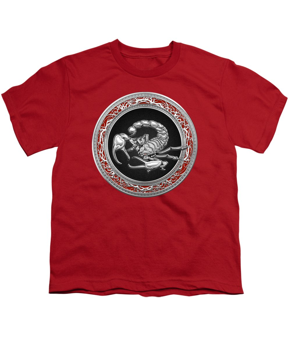 �treasure Trove � By Serge Averbukh Youth T-Shirt featuring the photograph Treasure Trove - Sacred Silver Scorpion On Red by Serge Averbukh