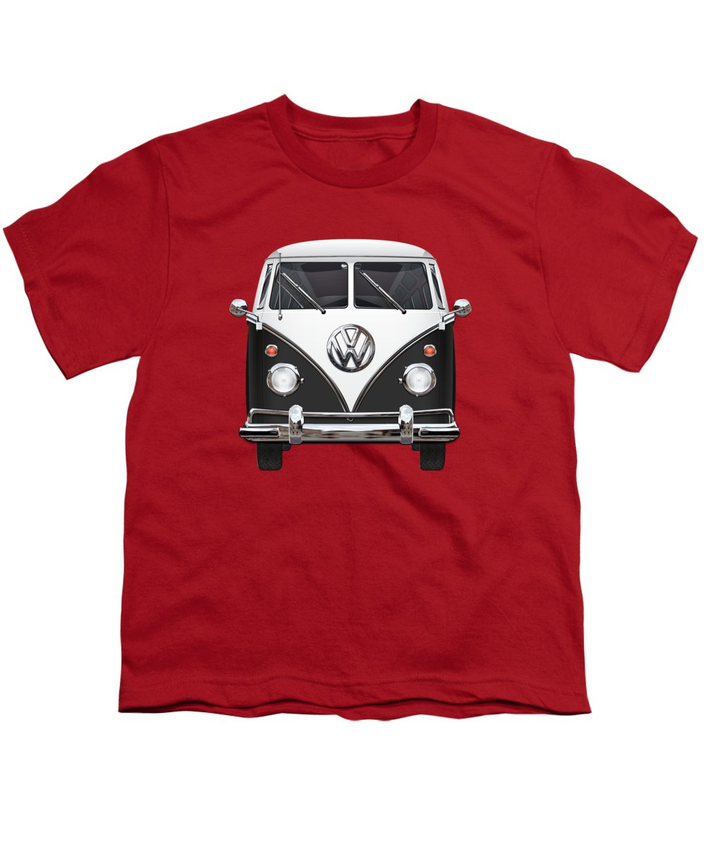 'volkswagen Type 2' Collection By Serge Averbukh Youth T-Shirt featuring the photograph Volkswagen Type 2 - Black And White Volkswagen T 1 Samba Bus On Red by Serge Averbukh