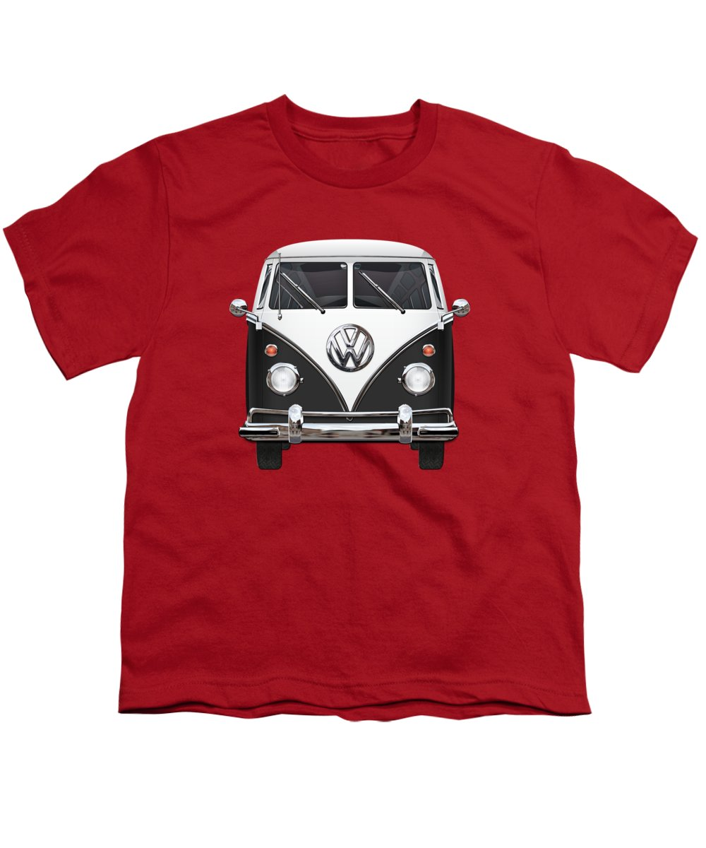 'volkswagen Type 2' Collection By Serge Averbukh Youth T-Shirt featuring the photograph Volkswagen Type 2 - Black And White Volkswagen T 1 Samba Bus On Red 2 by Serge Averbukh