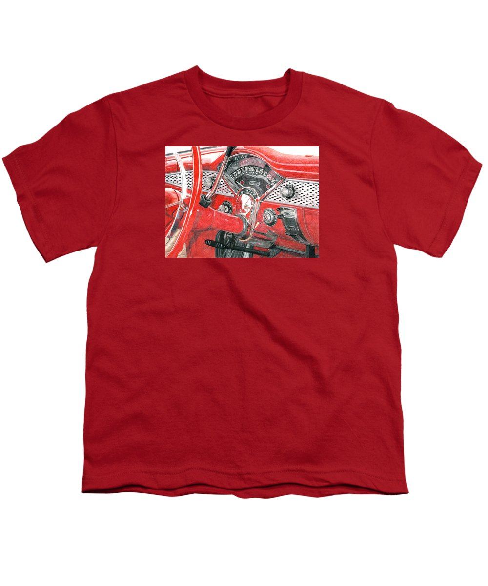 Classic Youth T-Shirt featuring the drawing 1955 Chevrolet Bel Air by Rob De Vries