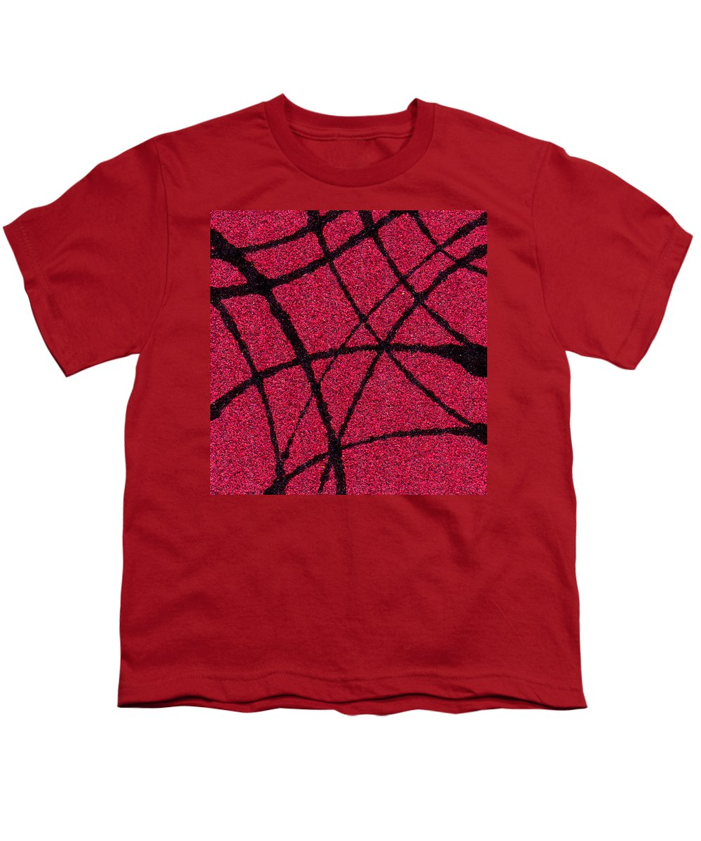 Abstract Youth T-Shirt featuring the painting Abstract In Red And Black by Wayne Potrafka