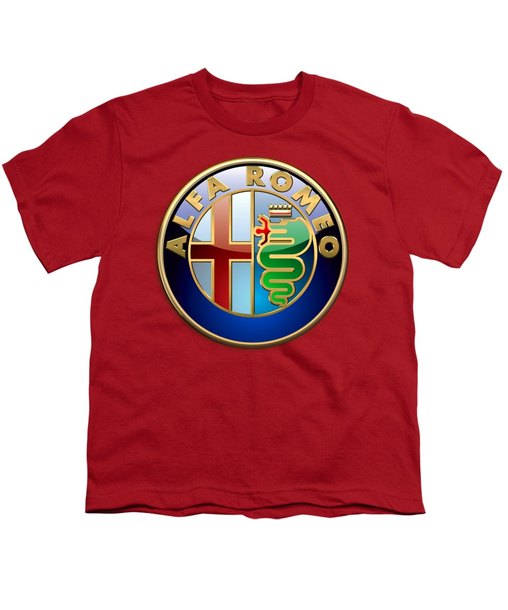 Wheels Of Fortune By Serge Averbukh Youth T-Shirt featuring the photograph Alfa Romeo - 3d Badge On Red by Serge Averbukh