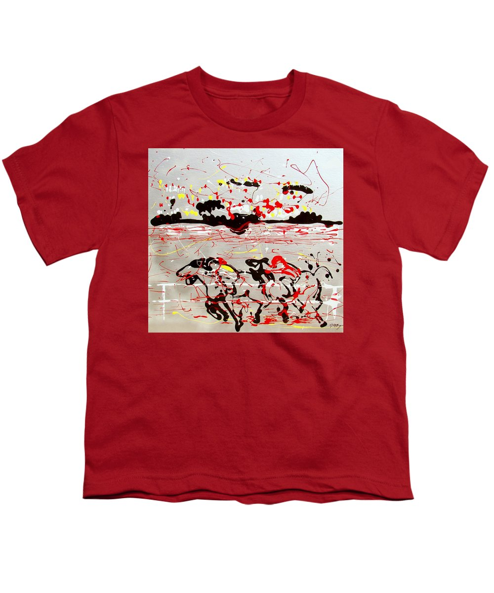 Horses Youth T-Shirt featuring the mixed media And Down The Stretch They Come by J R Seymour