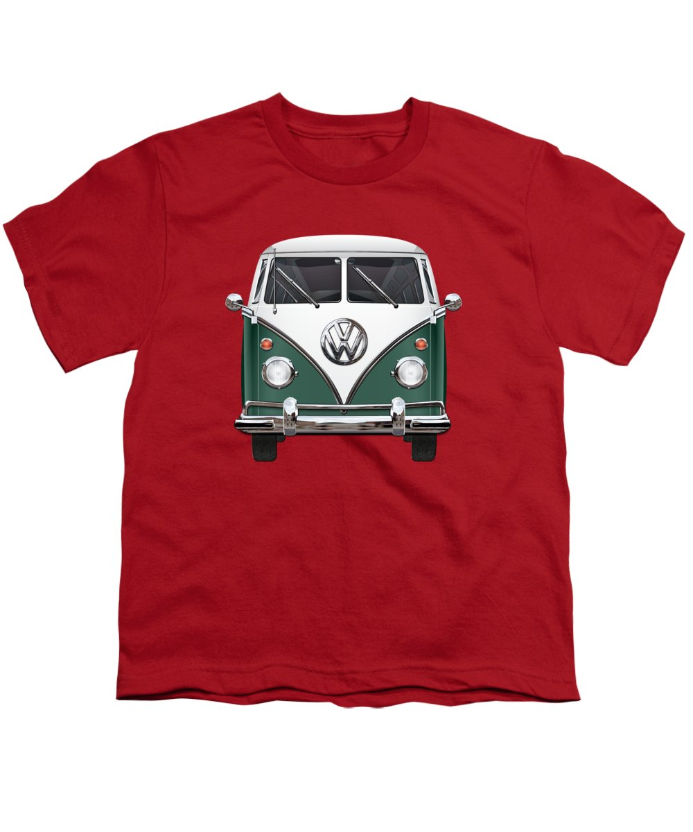 'volkswagen Type 2' Collection By Serge Averbukh Youth T-Shirt featuring the photograph Volkswagen Type 2 - Green And White Volkswagen T 1 Samba Bus Over Red Canvas by Serge Averbukh