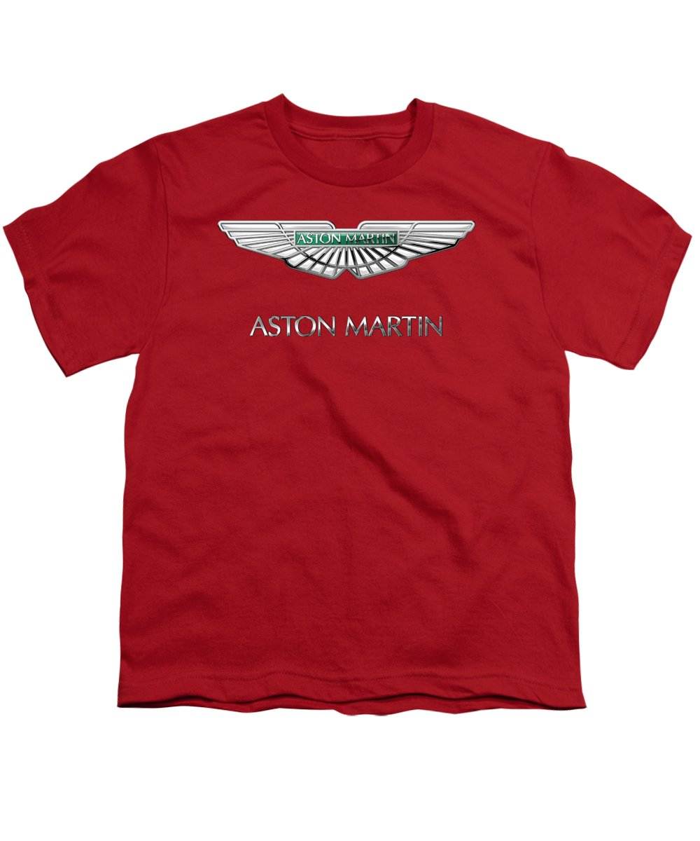 Wheels Of Fortune� Collection By Serge Averbukh Youth T-Shirt featuring the photograph Aston Martin - 3 D Badge On Red by Serge Averbukh