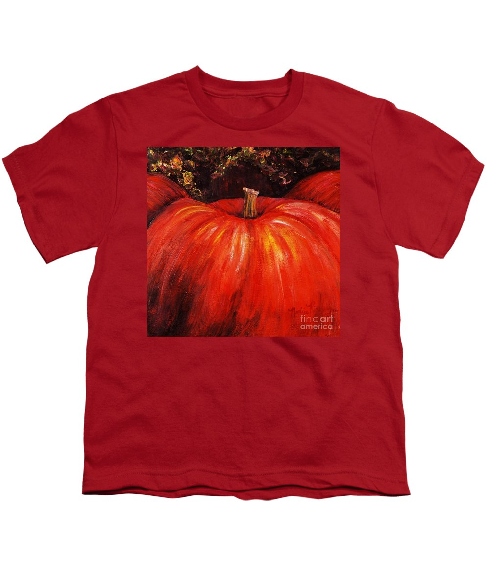Orange Youth T-Shirt featuring the painting Autumn Pumpkins by Nadine Rippelmeyer