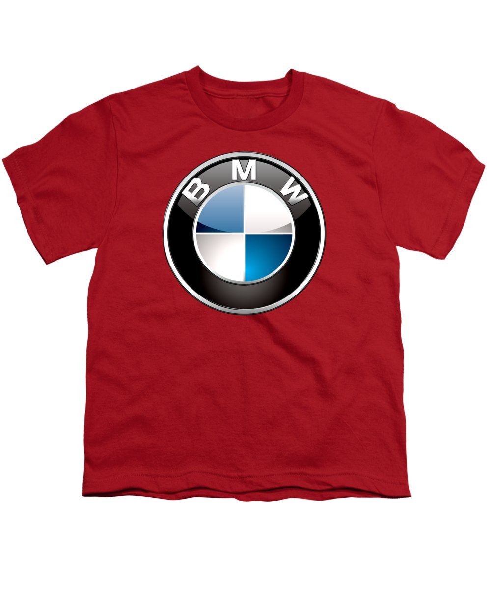 'auto Badges 3d' By Serge Averbukh Youth T-Shirt featuring the photograph B M W Badge On Red by Serge Averbukh