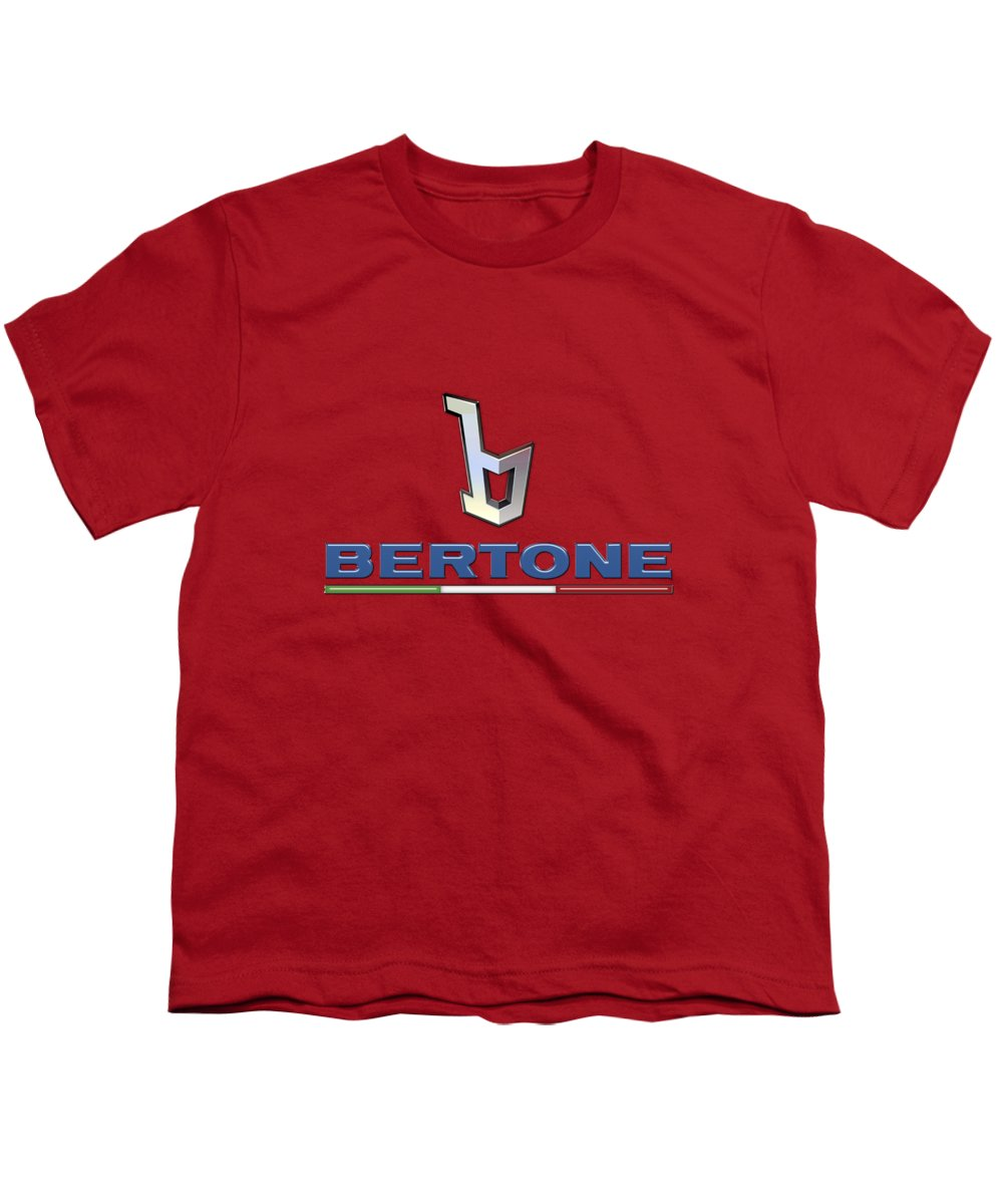 �wheels Of Fortune� Collection By Serge Averbukh Youth T-Shirt featuring the photograph Bertone 3 D Badge On Red by Serge Averbukh