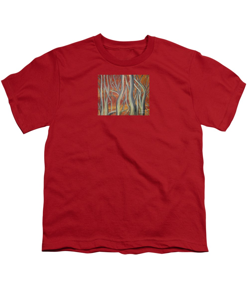 Trees Forest Original Painting Abstract Youth T-Shirt featuring the painting Beyond by Leila Atkinson