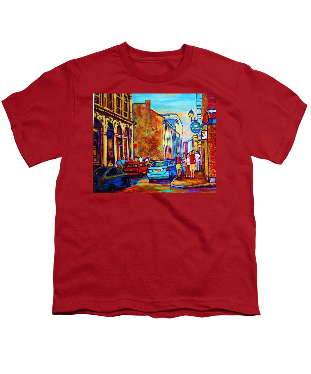 Montreal Youth T-Shirt featuring the painting Blue Cars At The Resto Bar by Carole Spandau