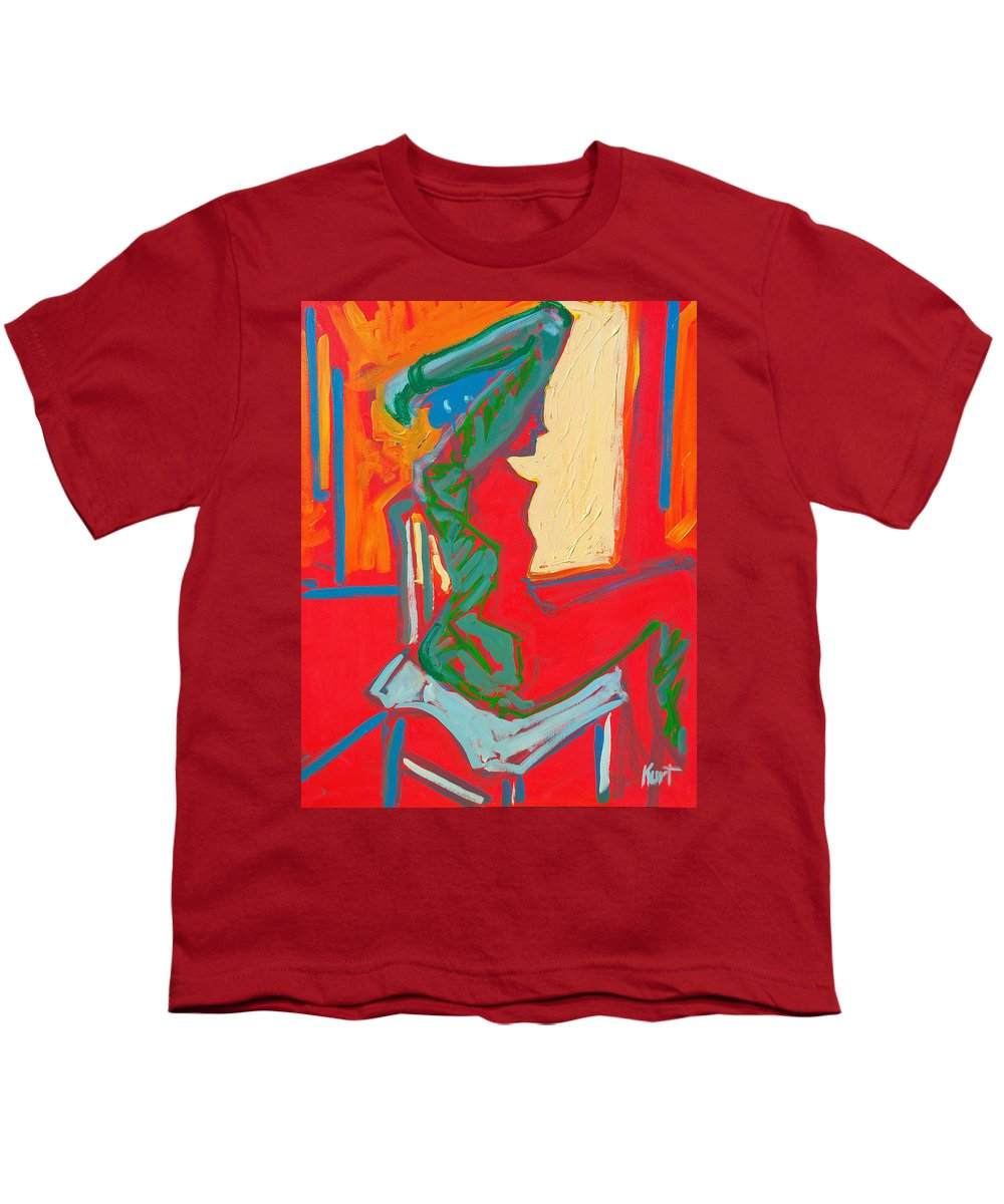 Woman Youth T-Shirt featuring the painting Blue Chair Study by Kurt Hausmann