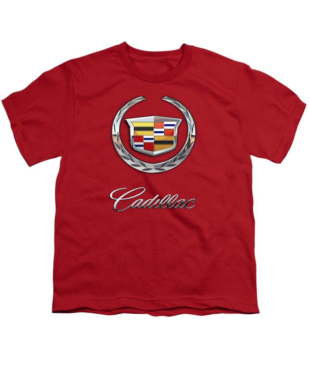 �wheels Of Fortune� Collection By Serge Averbukh Youth T-Shirt featuring the photograph Cadillac - 3 D Badge On Red by Serge Averbukh