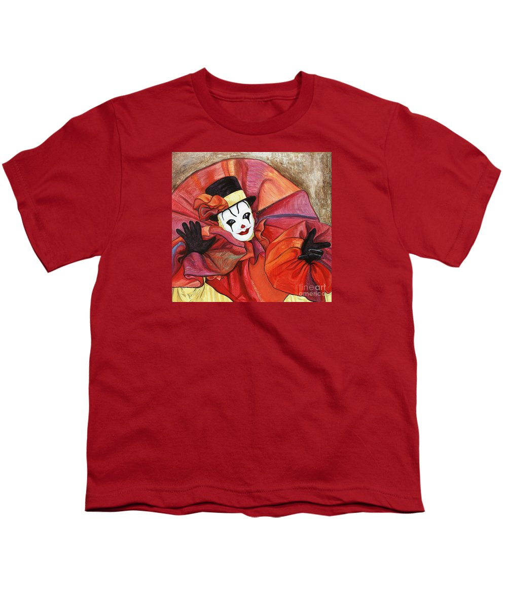 Clown Youth T-Shirt featuring the painting Carnival Clown by Patty Vicknair
