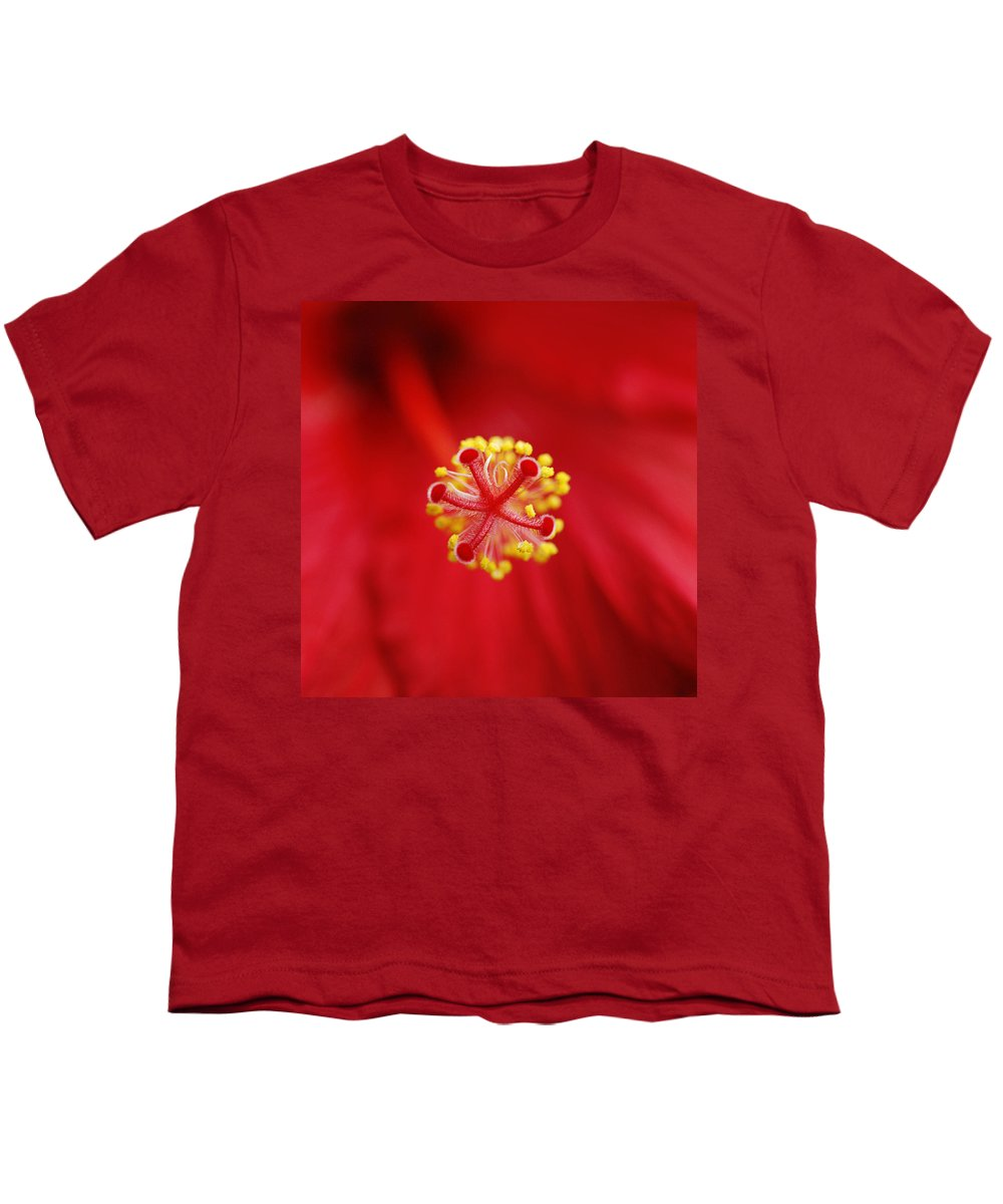 Flower Youth T-Shirt featuring the photograph Center Of The Hibiscus Universe by Marilyn Hunt