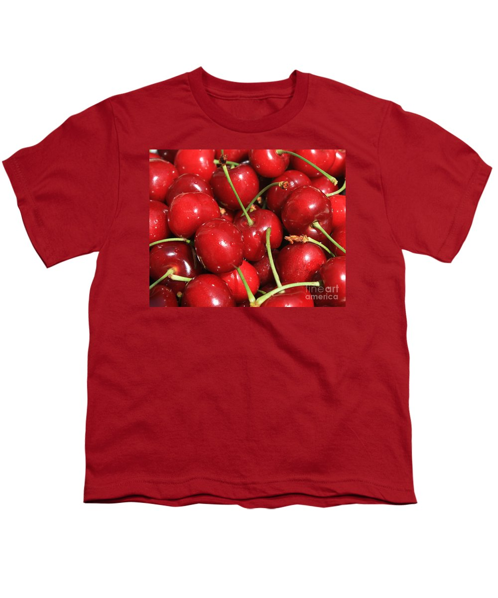Food And Beverages Youth T-Shirt featuring the photograph Cherries by Carol Groenen