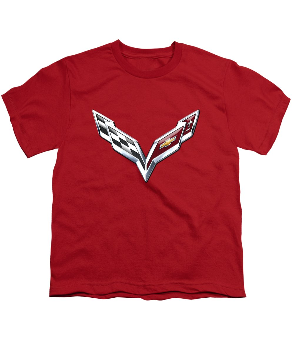 'wheels Of Fortune' Collection By Serge Averbukh Youth T-Shirt featuring the photograph Chevrolet Corvette - 3d Badge On Red by Serge Averbukh