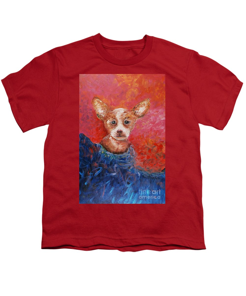 Dog Youth T-Shirt featuring the painting Chihuahua Blues by Nadine Rippelmeyer