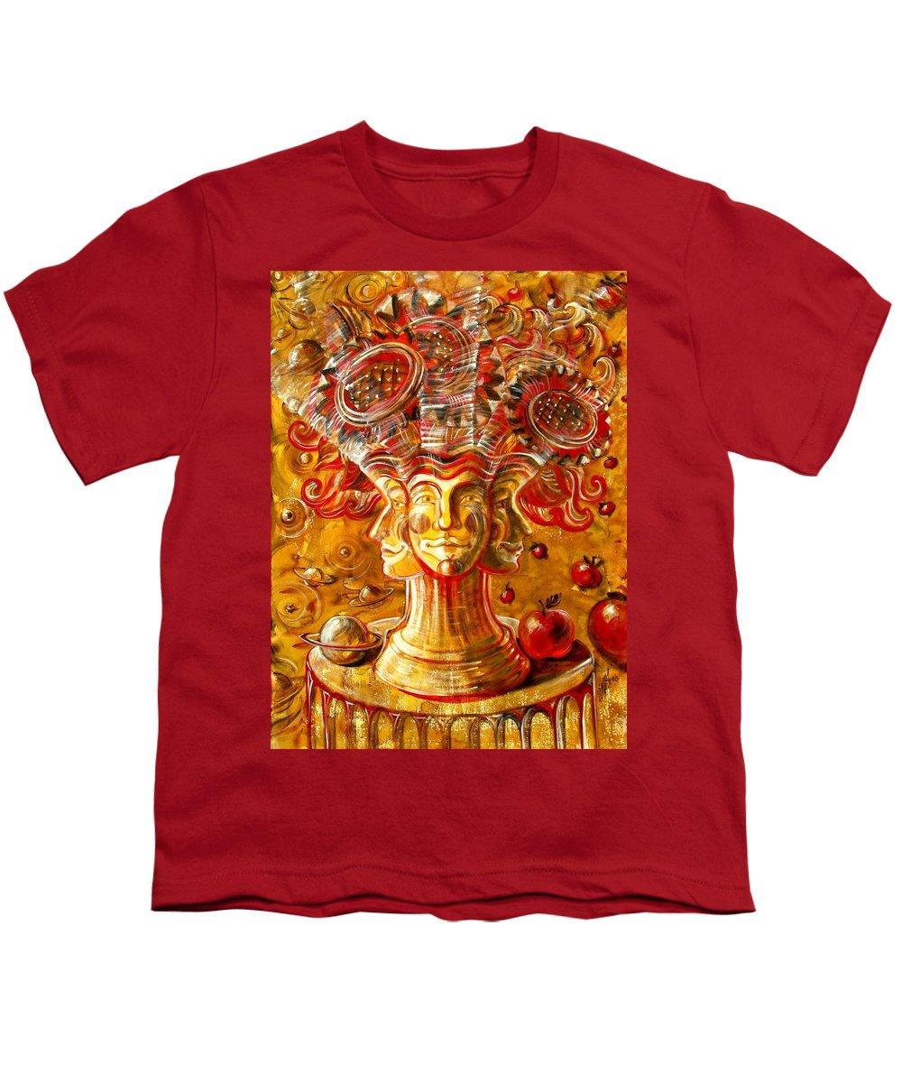 Inga Vereshchagina Youth T-Shirt featuring the painting Clowns With Sunflowers by Inga Vereshchagina