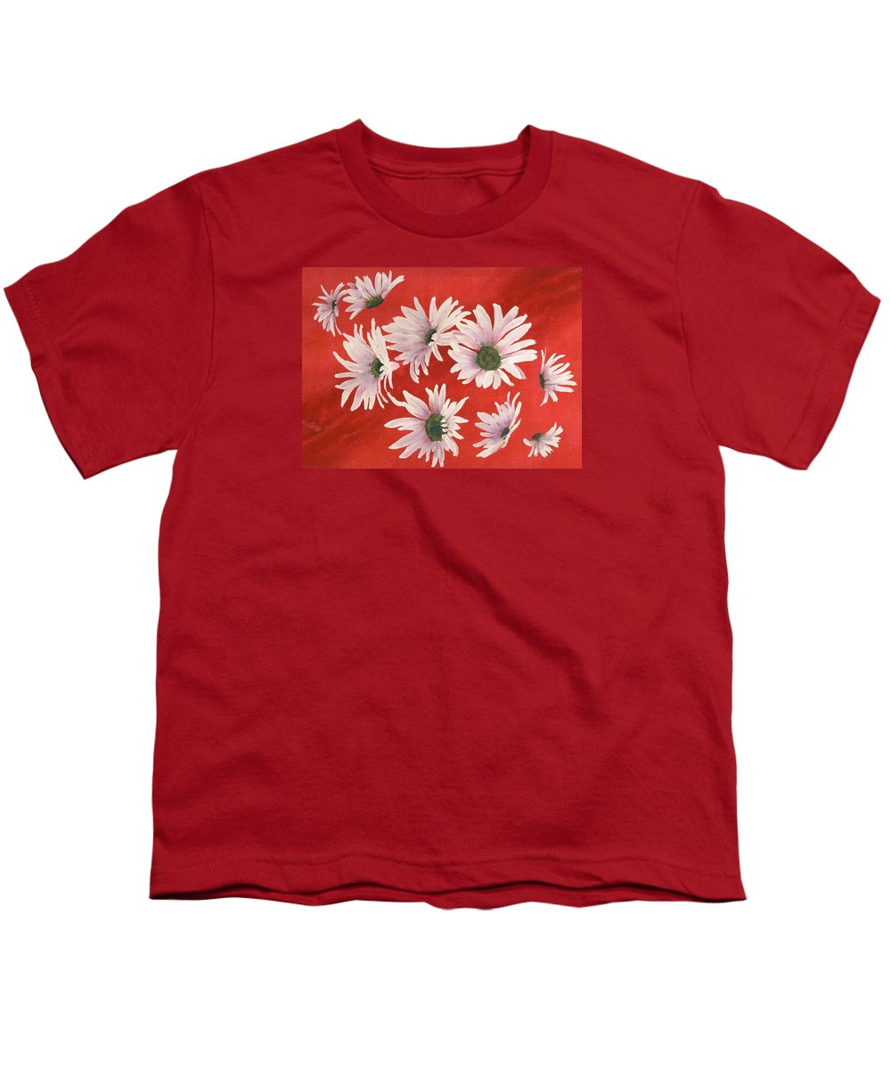 Flowers Youth T-Shirt featuring the painting Daisy Chain by Ruth Kamenev