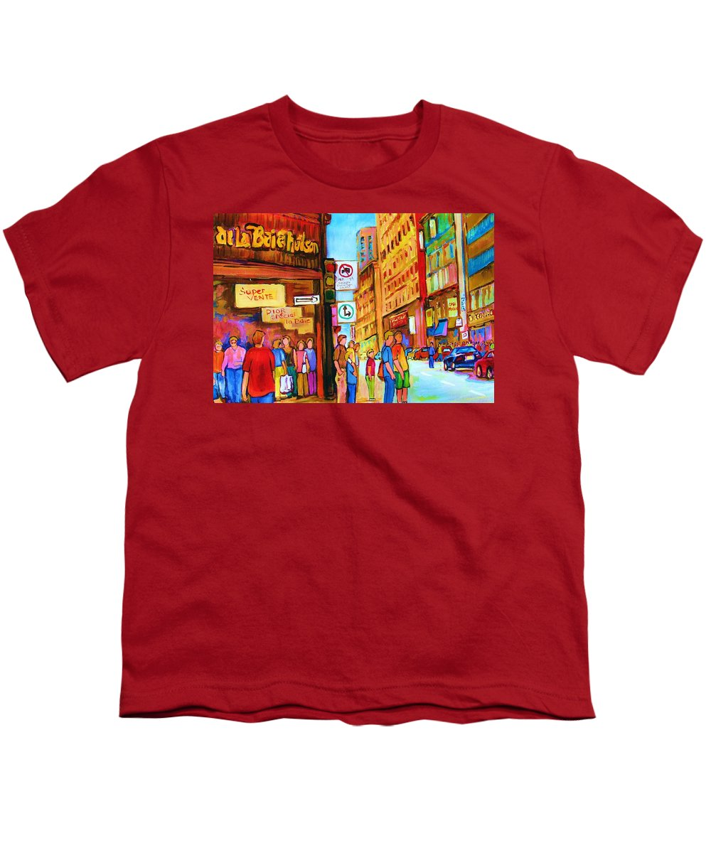 Cityscape Youth T-Shirt featuring the painting Downtown by Carole Spandau