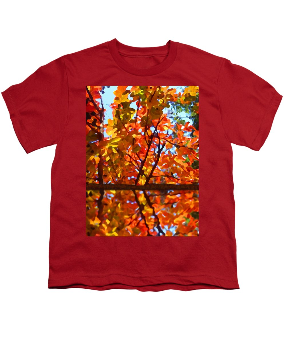 Trees Youth T-Shirt featuring the painting Fall Reflextion by Amy Vangsgard