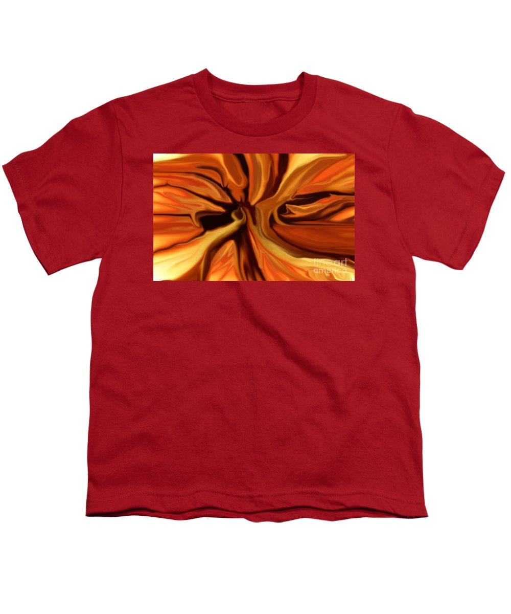 Abstract Youth T-Shirt featuring the digital art Fantasy In Orange by David Lane