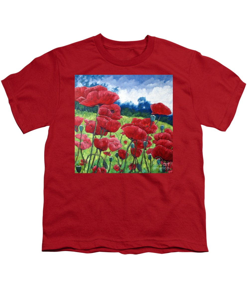 Poppies Youth T-Shirt featuring the painting Field Of Poppies by Richard T Pranke