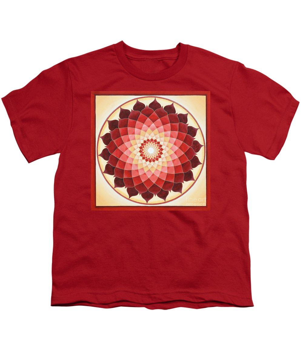 Mandala Youth T-Shirt featuring the painting Flower Of Life by Charlotte Backman