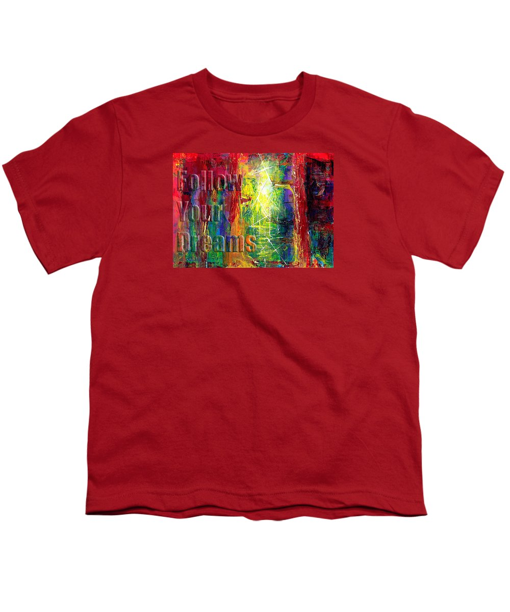Greeting Cards Youth T-Shirt featuring the painting Follow Your Dreams Embossed by Thomas Lupari