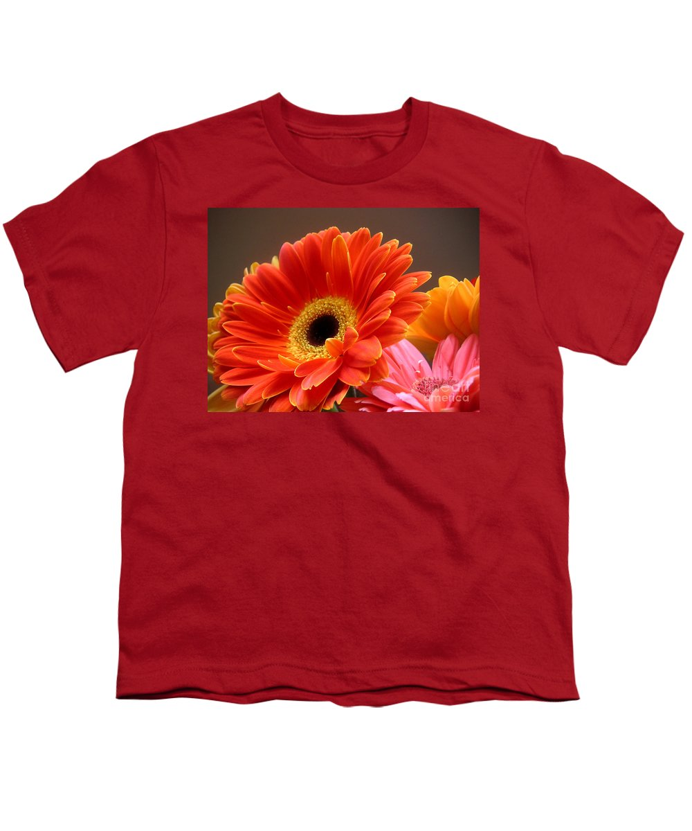 Nature Youth T-Shirt featuring the photograph Gerbera Daisies - Luminous by Lucyna A M Green