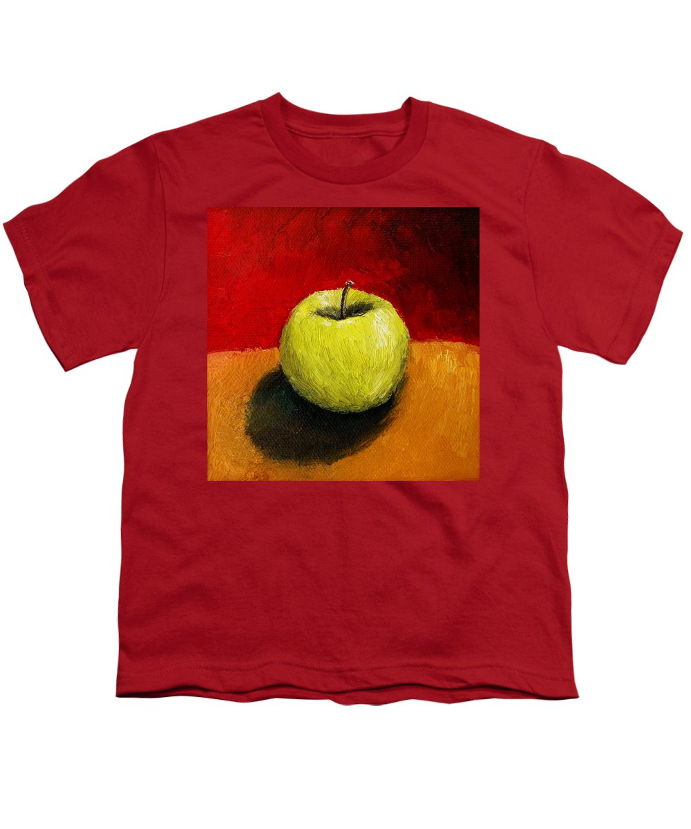 Apple Youth T-Shirt featuring the painting Green Apple With Red And Gold by Michelle Calkins