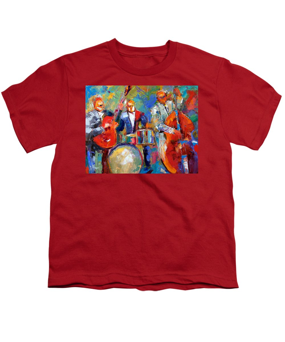 Jazz Painting Youth T-Shirt featuring the painting Guitar Drums And Bass by Debra Hurd