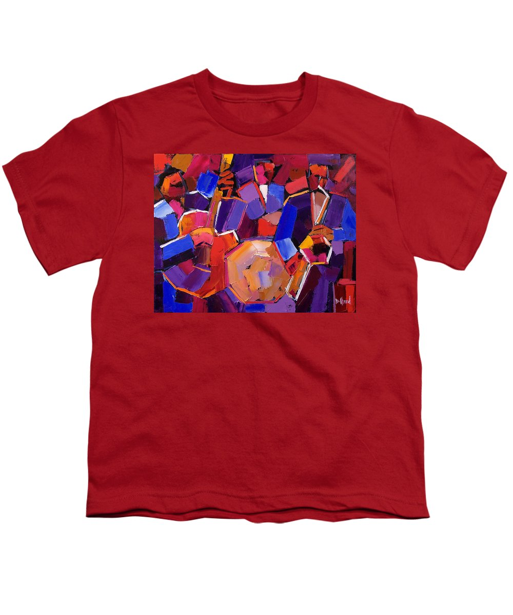 Jazz Youth T-Shirt featuring the painting Jazz Angles Two by Debra Hurd