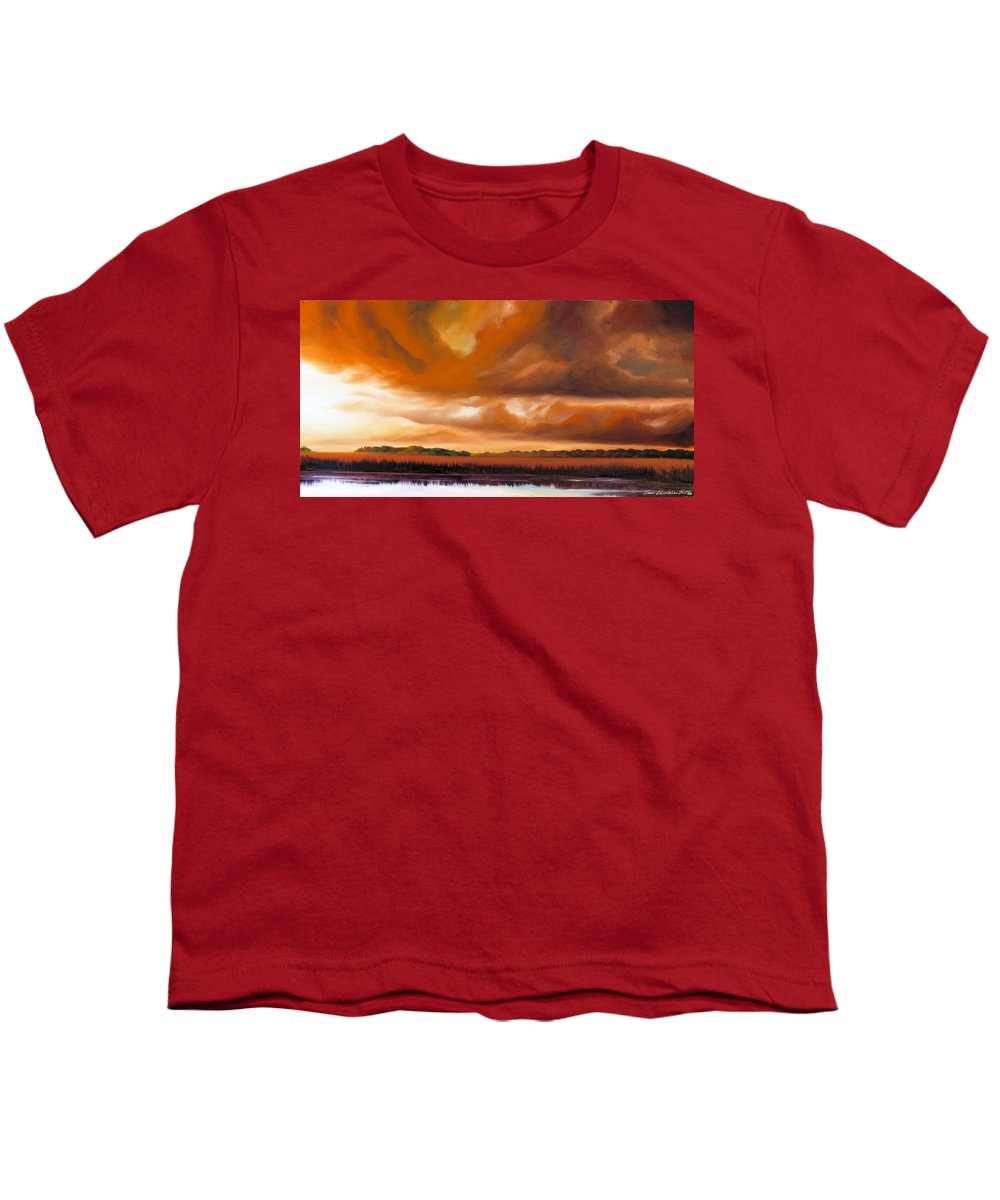 Clouds Youth T-Shirt featuring the painting Jetties On The Shore by James Christopher Hill