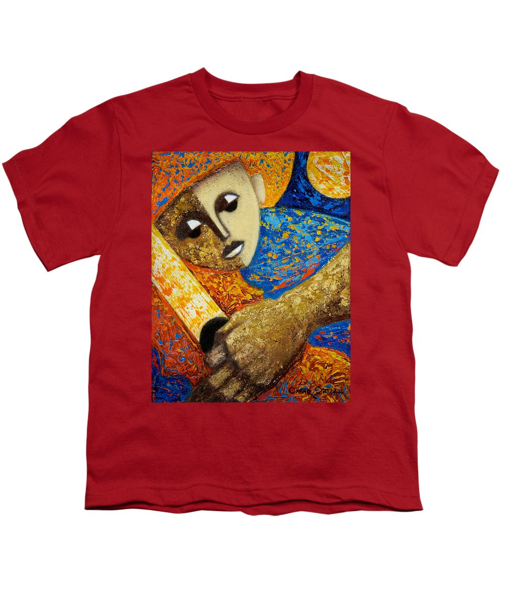 Color Youth T-Shirt featuring the painting Jibaro Y Sol by Oscar Ortiz