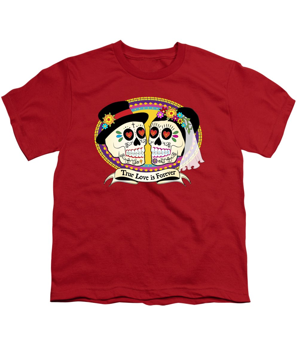 Sugar Skull Wedding Youth T-Shirt featuring the digital art Los Novios Sugar Skulls by Tammy Wetzel