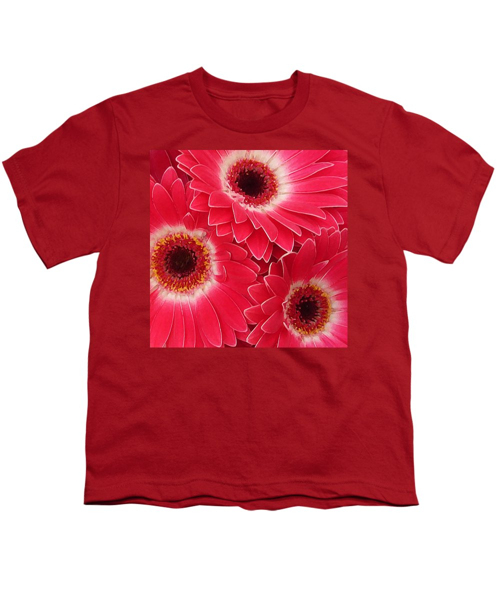 Daisy Youth T-Shirt featuring the painting Magenta Gerber Daisies by Amy Vangsgard