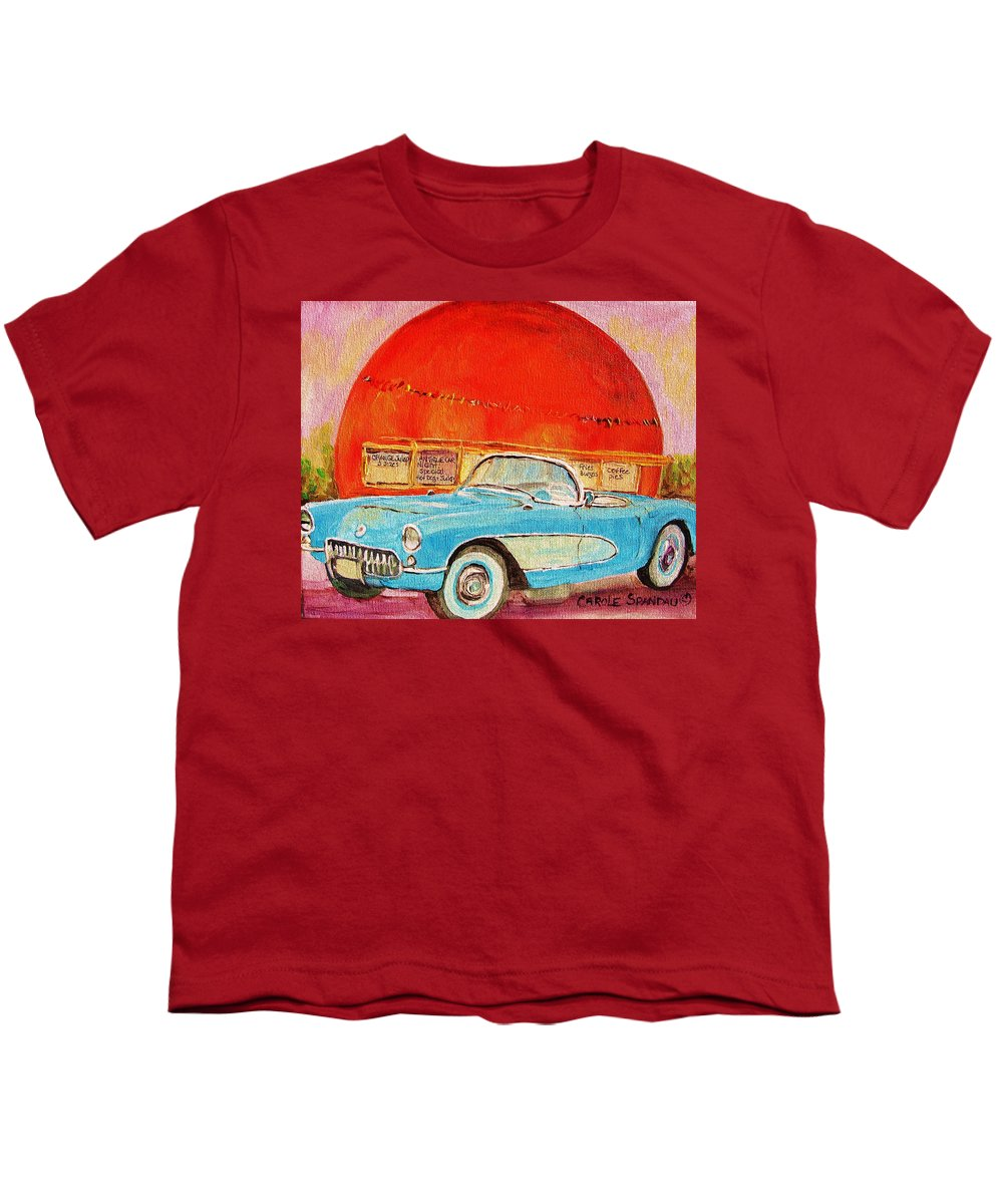 Montreal Youth T-Shirt featuring the painting My Blue Corvette At The Orange Julep by Carole Spandau