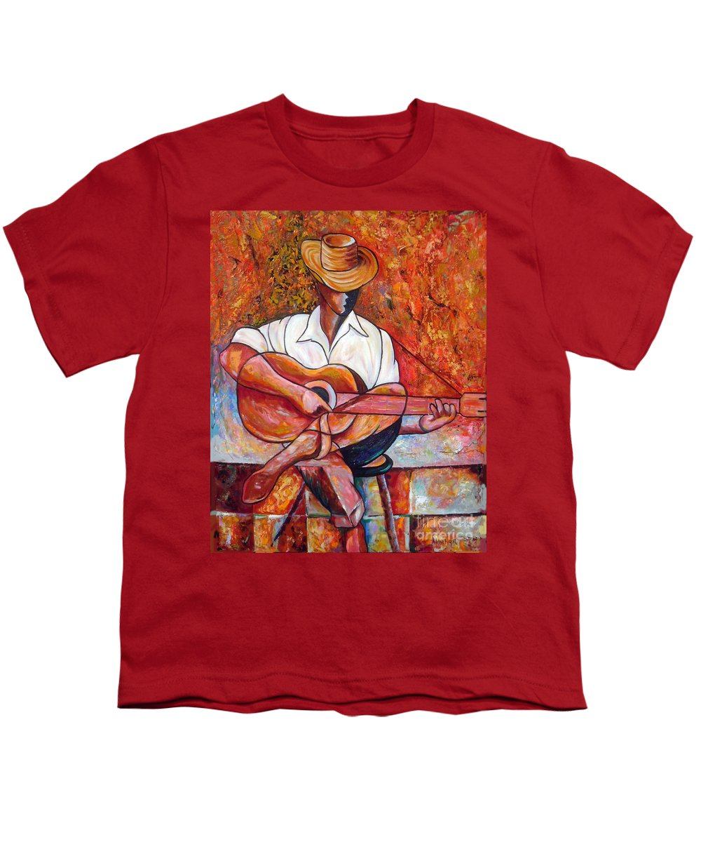 Cuba Art Youth T-Shirt featuring the painting My Guitar by Jose Manuel Abraham