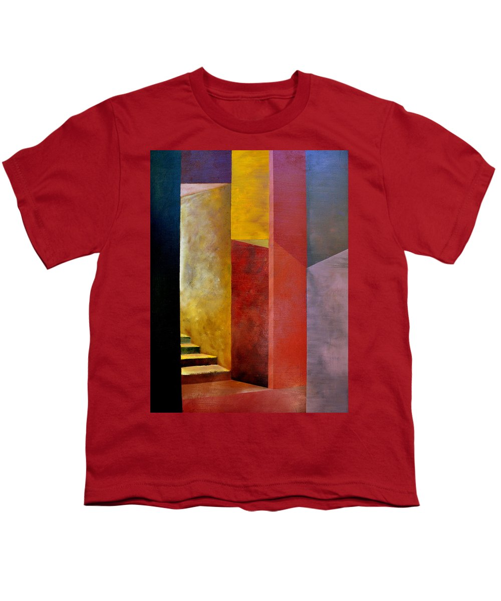 Gold Youth T-Shirt featuring the painting Mystery Stairway by Michelle Calkins