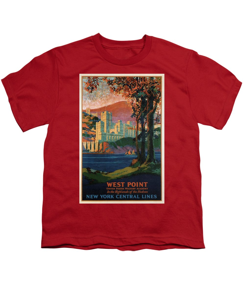 6b9a030419b4e3 New York Youth T-Shirt featuring the mixed media New York Central Lines -  West