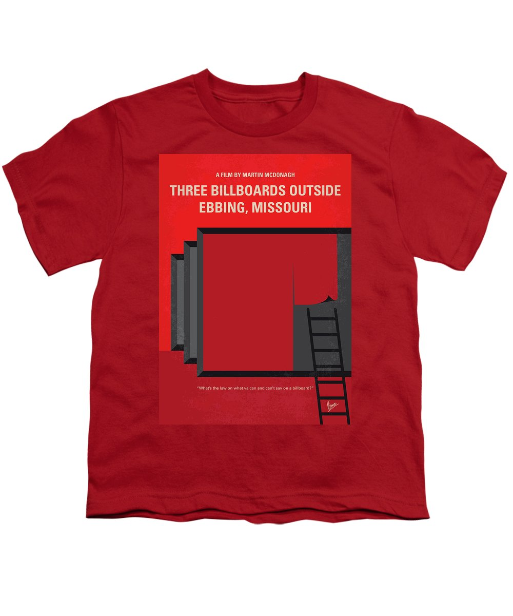Three Youth T-Shirt featuring the digital art No900 My Three Billboards Minimal Movie Poster by Chungkong Art
