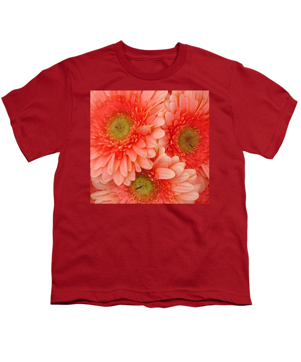Floral Youth T-Shirt featuring the painting Peach Gerbers by Amy Vangsgard