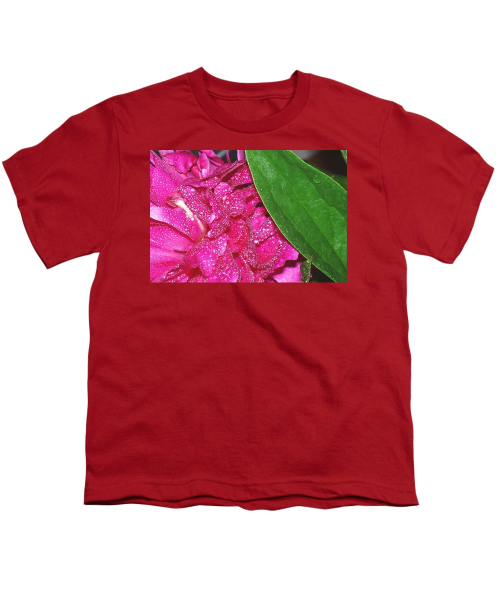 Peony Youth T-Shirt featuring the photograph Peony And Leaf by Nancy Mueller