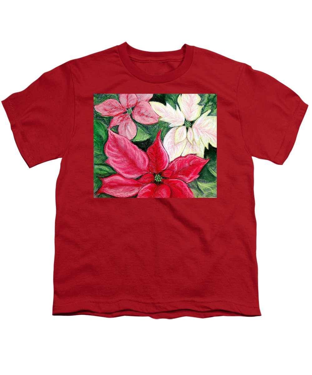Poinsettia Youth T-Shirt featuring the pastel Poinsettia Pastel by Nancy Mueller